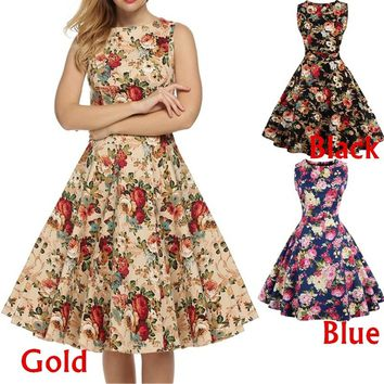Women 1950s Vintage Hepburn Style Dress Floral Print Sleeveless Big Hem Elegant Dress S - 4XL