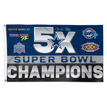 Dallas Cowboys NFL 5x Super Bowl Champs Commemorative 3ftx5ft Deluxe Flag