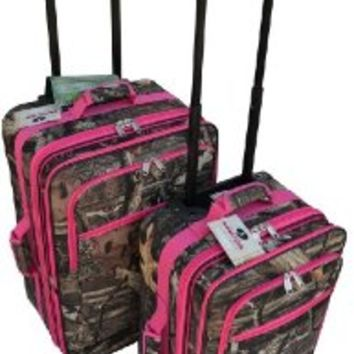"2 Pieces Mossy Oak Luggage Set with Pink Trim, 20"" + 24"""
