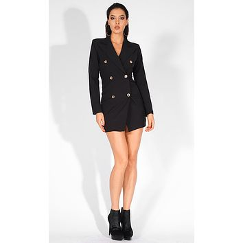 Ignore The Gossip Black Gold Buttons Long Sleeve V Neck Blazer Bodycon Mini Dress