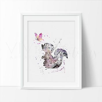 Flower the Skunk Watercolor Art Print