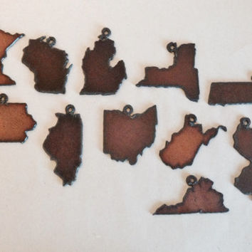 State Charms New York Illinois Minnesota Iowa Virginia Michigan New Jersey Ohio Set of 3 made of rusty rusted recycled metal