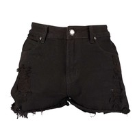 Hatty High Rise Washed Black Denim Shorts