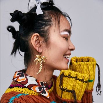 Yhpup Charms Zinc Alloy Coco Tree Drop Earrings Plant Metal Brand Stylish Dangle Earrings Pendientes Mujer Moda 2018 Party Gift