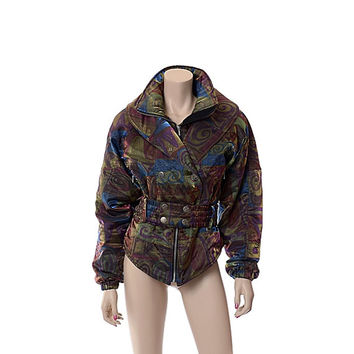 Vintage 80s NILS Iridescent Ski Jacket Abstract 1980s Holographic Mod Party Coat Punk New Wave Skiing Snowboard Parka Outfit / size 10