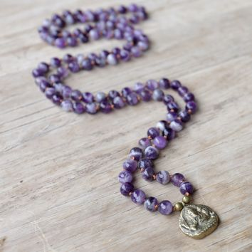 Amethyst Hand Knotted Mala Necklace with Ganesh 'Success' Pendant