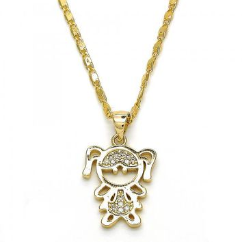 Gold Layered 04.156.0115.18 Fancy Necklace, Little Girl Design, with White Micro Pave, Polished Finish, Golden Tone