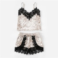 Velvet and Lace Pajama Set