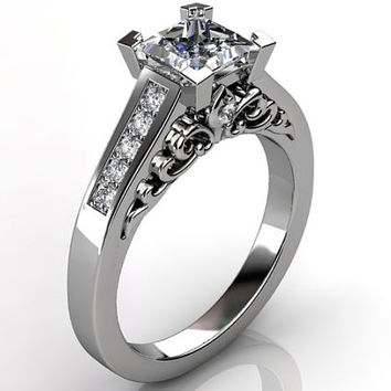 Victorian vintage Fleur-de-Lis 14k white gold diamond princess cut sapphire floral engagement ring, wedding ring ER-1093-1