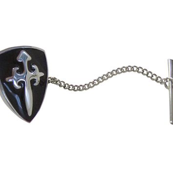 Black Medieval Shield Pendant Tie Tack