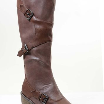 Brown Strappy Buckle Riding Women's Vegan Knee Chunky Heel Boots