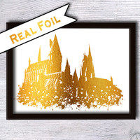 Hogwarts castle poster Harry Potter print Real gold foil decor Harry Potter real foil art Home decoration Kids room decor Wall art decor G10
