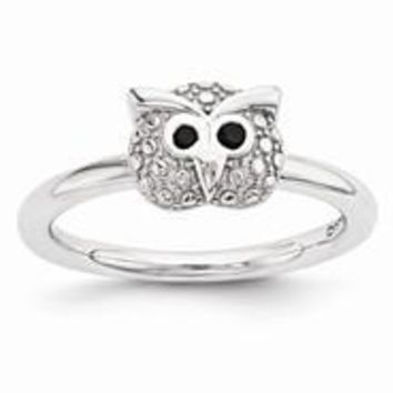 Sterling Silver Polished Onyx Owl Ring