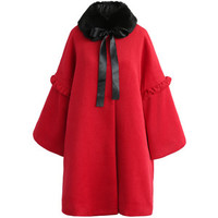 Chicwish Jubilant Red Wool-blend Coat with Faux Fur Collar