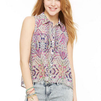 Aztec Print Tulip Back Shirt - Multi