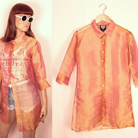 sheer button down tunic // iridescent pink and gold