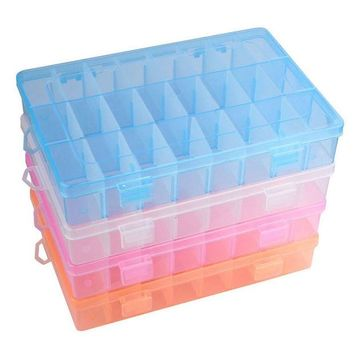 VONC1Y 4 Colors Adjustable 24 Compartment  Plastic Storage Box Bead Jewelry Earring Case Display Organizer