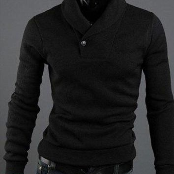 Korean Style Polo Collar Solid Color Button Embellished Long Sleeves Cotton Blend Sweater For Men - Black - L
