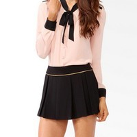 Contrast Self-Tie Blouse