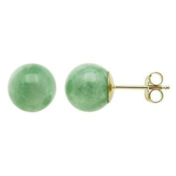 14K Yellow Gold Natural Green Jade Round Stud Earrings