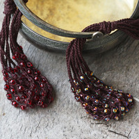 Multi strand brown necklace / Choose your beads color - Garnet red or Brown gold mix / Crochet jewelry / Boho / Rustic