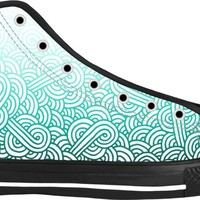 Gradient turquoise blue and white swirls doodles Black High Top