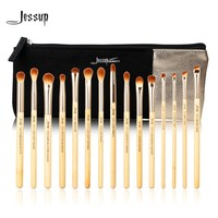 Jessup Brand 15pcs Beauty Bamboo Professional Makeup Brushes Set T137 & Cosmetics Bags Women Bag CB001 Make up brush tools