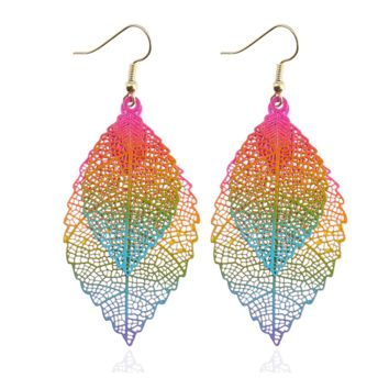 Metal Mesh Dangling Double Leaf Earrings