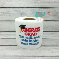 Graduation embroidered toilet paper, gag gift, white elephant gift, bathroom decoration, home decor, grad, student, college, bath, adult
