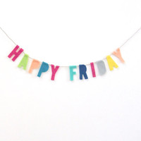 Happy Friday felt banner, colorful funfetti cubicle banner, Friday party banner