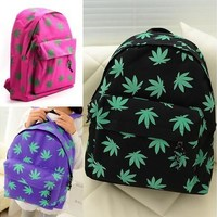 Fashion Student Leaf Bags Travel Casual Schoolbag Backpack College Maple Canvas School Bag [8081694983]