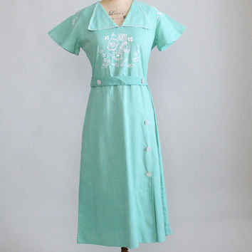 Vintage 1930s Embroidered Cotton Day Dress
