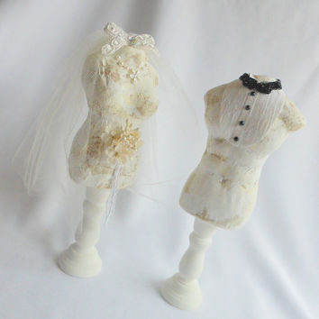 Unique Wedding Cake Topper, Hers n His Mannequins, Cottage Chic, Vintage Look