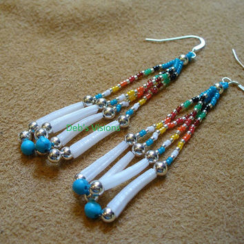 Native American Style looped fringe Dentillium shell earrings in the 7 Direction colors