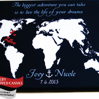 Canvas Personalized Map Gift Wedding Anniversary Gift For Husband Wife: Him Her Locations Custom World Travel Map Present Wall Art