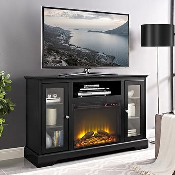 "52"" Highboy Fireplace Wood TV Stand Console - Black 