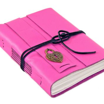 Deep Pink Leather Journal - Leather Journal - Blank Paper - Travel Journal - Bound Sketchbook - Art Notebook - Journal - Heart Locket Charm
