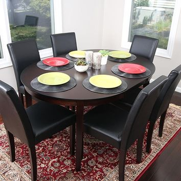 New Century® 7 Pieces Cappuccino Oval Dining Table With Leather Chairs