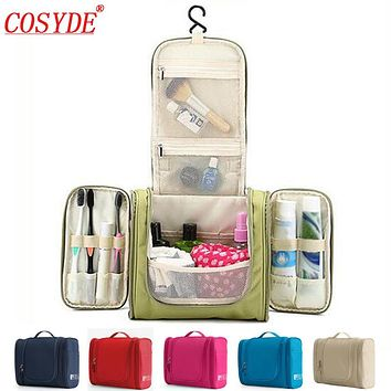 BEIGE Waterproof Nylon Travel Organizer Bag Unisex Women Cosmetic Bag Hanging Travel Makeup Bags Washing Toiletry Kits Storage Bags