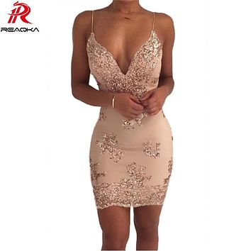 Womens Gold Black Sequins Summer Dress 2018 Sexy V neck Backless Women Sundress Luxury Party Club Wear Mini Dresses Vestidos New
