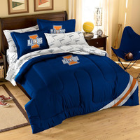 Illinois Fighting Illini NCAA Embroidered Comforter (Full Size) (64in x 86in)