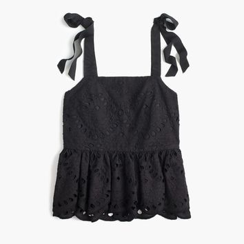 Petite tie-shoulder eyelet top