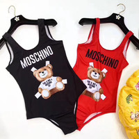 """Moschino"" Fashion Cute Cartoon Bear Letter Print Backless One Piece Swimwear Bikini Swimsuit"