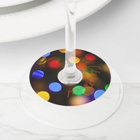 Multicolored Christmas lights. Add text or name. Wine Glass Tag