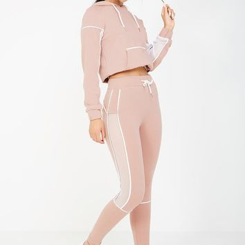 CONTRAST PIPED FITTED JOGGERS - PINK