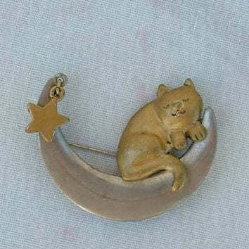 Cat Sleeping on a Moon w Star Brooch Pin Cute Figural Jewelry