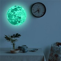 3D Wall Stickers Fluorescent Stickers Moon Pendant Grow In the dark Planet Stickers Removeable Window Stickers Wall Decor #3D15