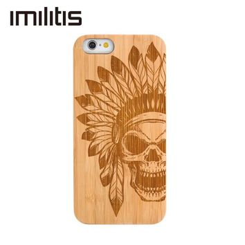 Custom Cover for iPhone 6 6s Natural Wooden Case Bamboo Customized for iPhone 6 plus Carving Clearly Pattern Case Cherry Walnut