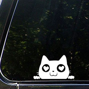 "Love Cat Peeking w Heart Eyes - Vinyl Car Decal Sticker - Copyright Yadda-Yadda Design Co. (4.5""w x 2.5""h) (COLOR CHOICES) (WHITE)"