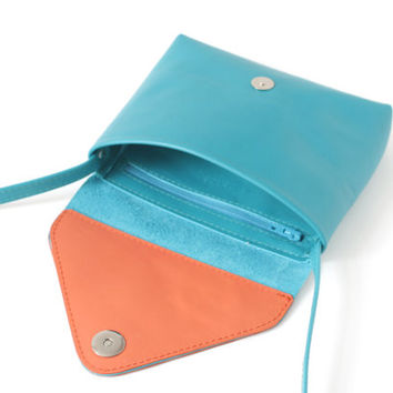 Genuine Leather Small Crossbody Purse Turquoise Blue / Coral, adjustable strap, small purse, pink leather clutch, shoulderbag